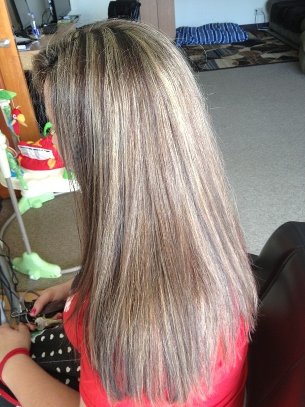 After adding highlights to brighten up to blond